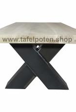 Tafelpoten.shop Stalen salon kruispoten, leuke industriele kruispoten voor salontafels, bankjes, en ander meubelen