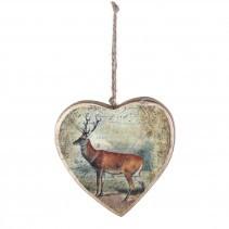 Christmas draw wooden heart deer