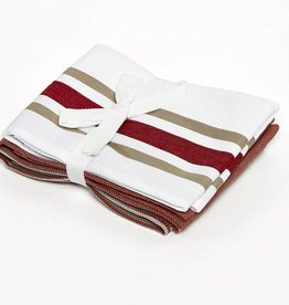 Kitchen towel cotton red stripes set van 3