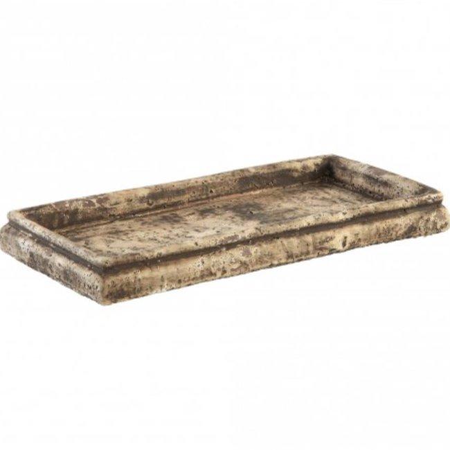 Finley smoke grey cement plate rectangle L