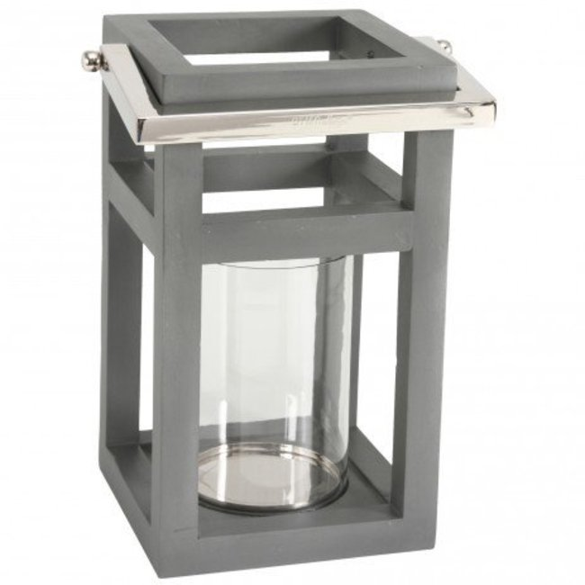 Harvey grey mango wood stormlight square with glass