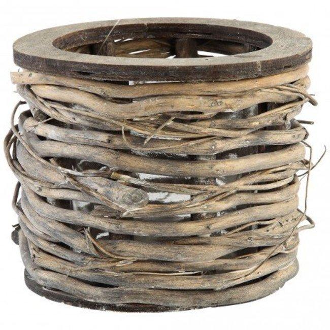 Yule wood lantern round grey with glass low