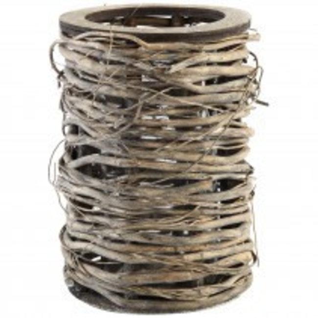 Yule wood lantern round grey with glass high
