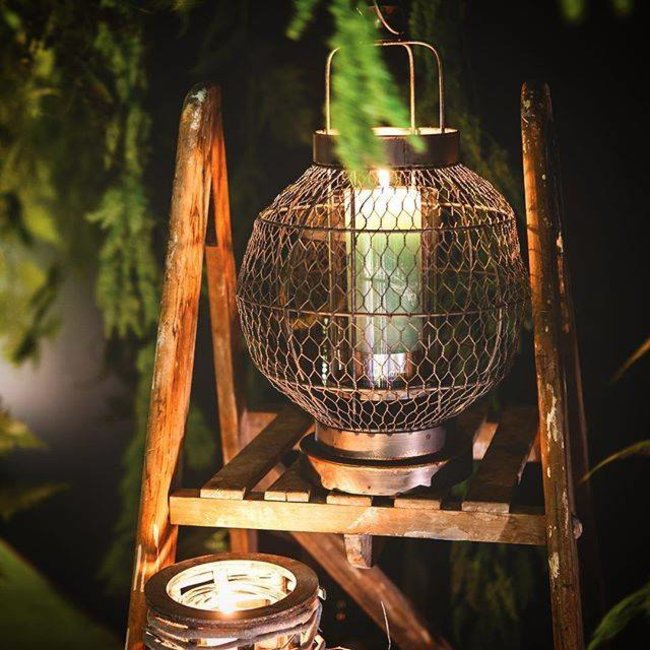 fabric metal lantern round ope with handle M