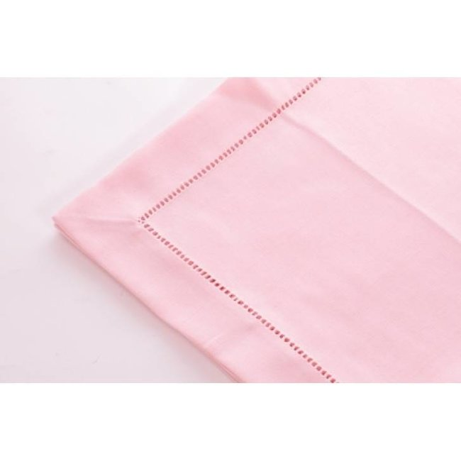Tafelkleed polyvis pastel pink 170x 300 hemstitch