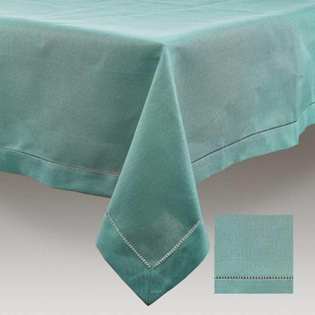 Tafelkleed sea green hemstitch 170x350