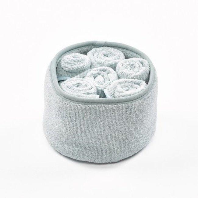 Mandje m/ 6 handdoek polyamide grijsblauw