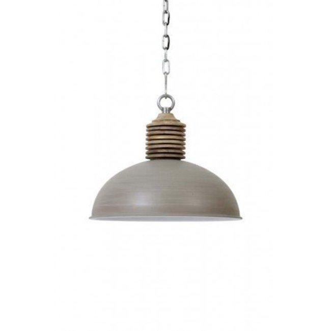 Hanglamp avery beton / wit kop hout dia 52x43