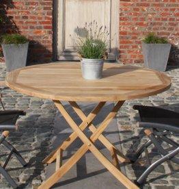 ronde vouwtafel teak outdoor  1 m