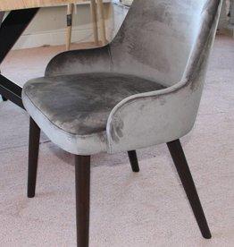 stoel May velours grey + houten poot colonial