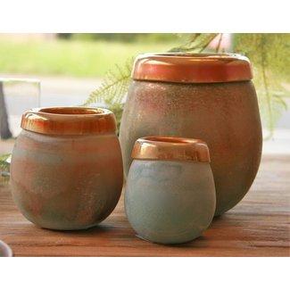 Mersh turqoise round Glass vase L