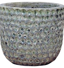 PTMD Bluzz dark green ceramic pot round