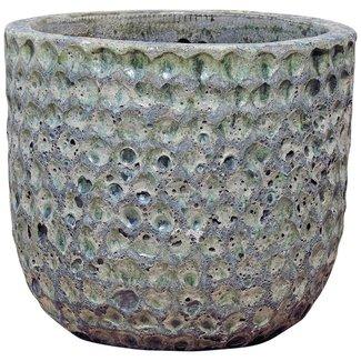 PTMD Bluzz dark green ceramic pot round