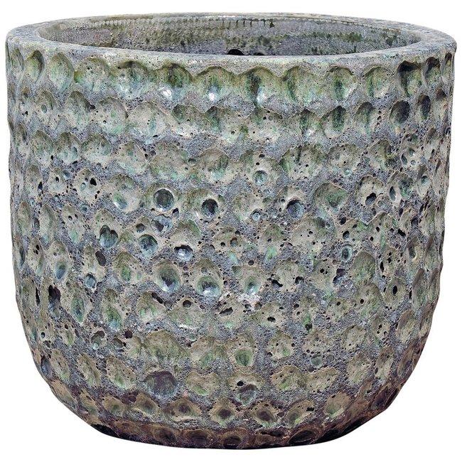 Bluzz dark green ceramic pot round