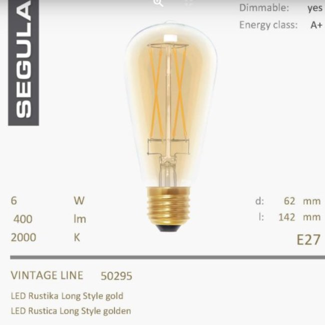 Led rustica gold - long style- 2000K-6W-CRI+90