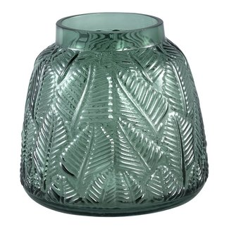 Cary dark green glass vase leave round s