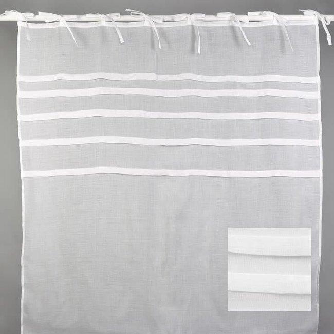 Gordijn polyester voile white set of 2. 140x280