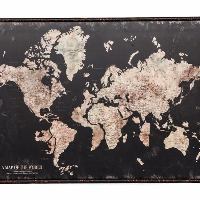 A map of the world dark canvas/ metal