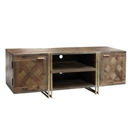 roan natural mango pine woodtv cabinet metal base