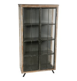 simple glass wood metal vitrine cabinet