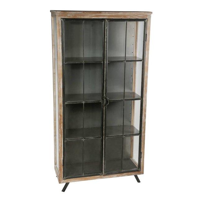 simple glass wood metal vitrine cabinet