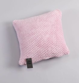 Cushion cover coral fleece checks dusty rose 40x40