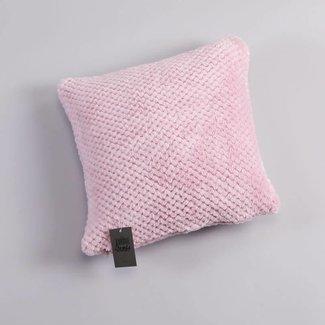 Cushion cover coral fleece checks dusty rose 40x40