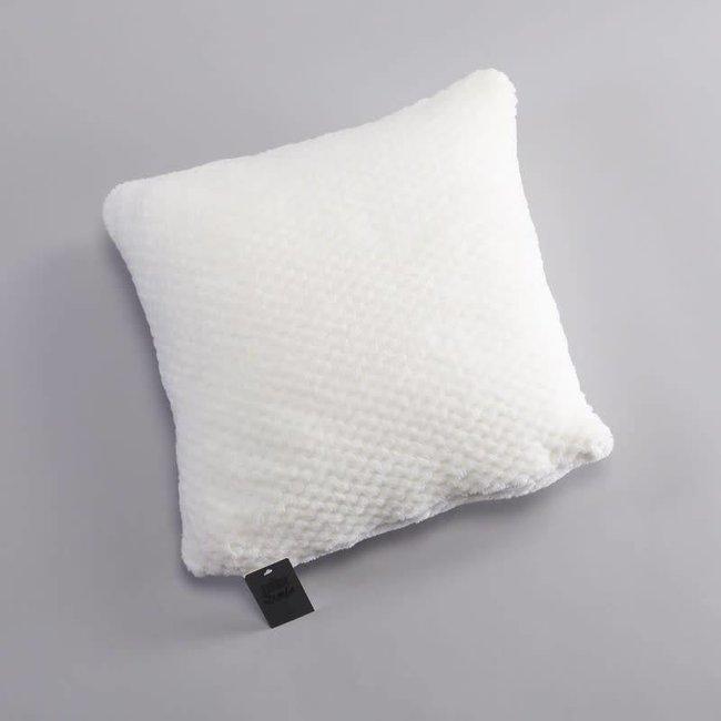 Cushion cover coral fleece checks ecru 40x40