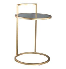 Tiffany gold sidetable glass top iron leg round