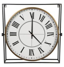 Mika Iron clock in iron frame square