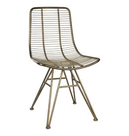 wire brass metal dining chair