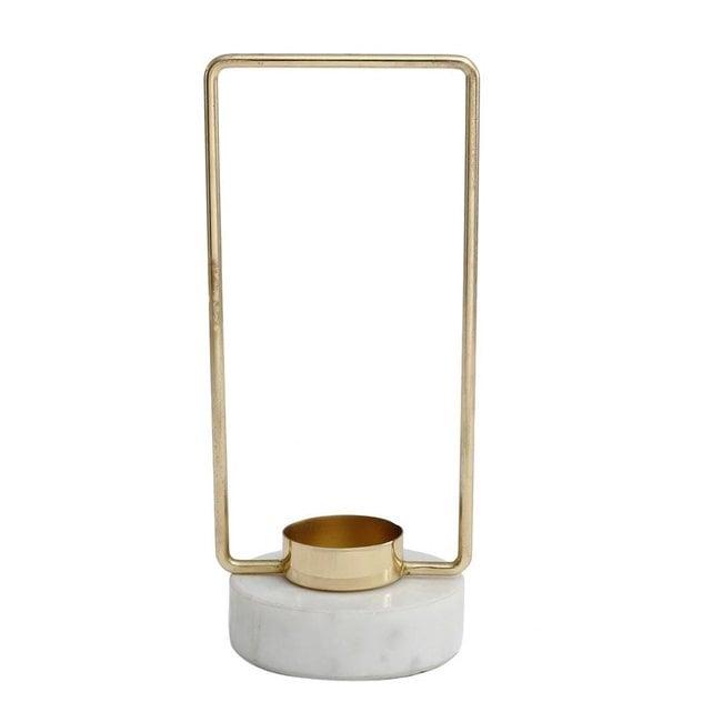 Novy Gold iron tealight square marble base S