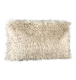 Noud cream long faux fur cushion rectangle