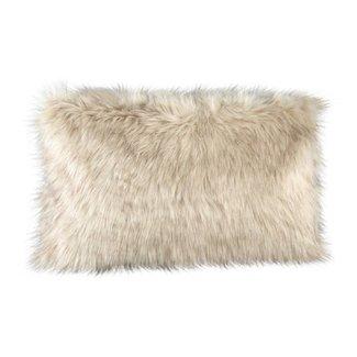 Noud cream long faux fur cushion rectangle