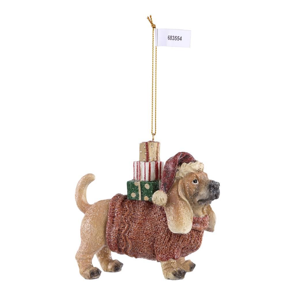 christmas poly brown dog wih sweater