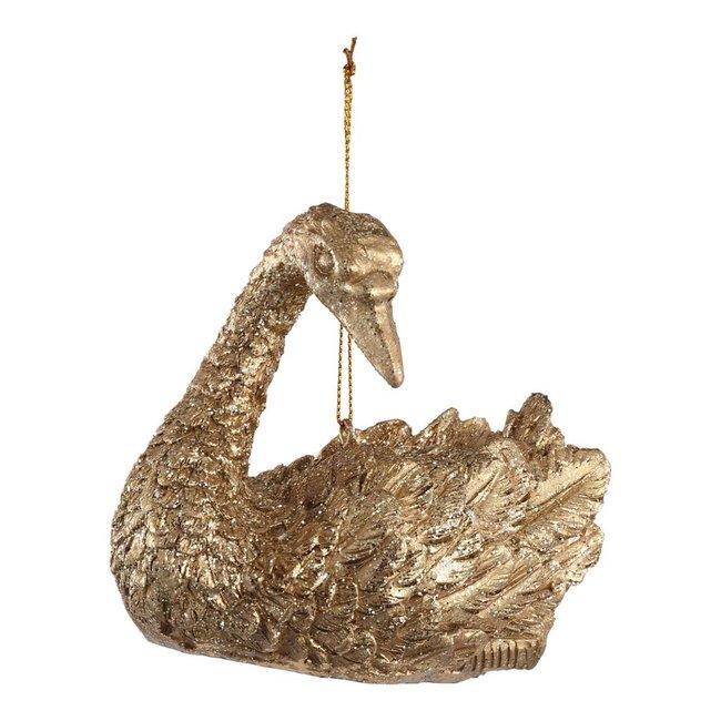 Christmas basile gold poly swan b