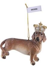 Christmas poly Brown dog with crown