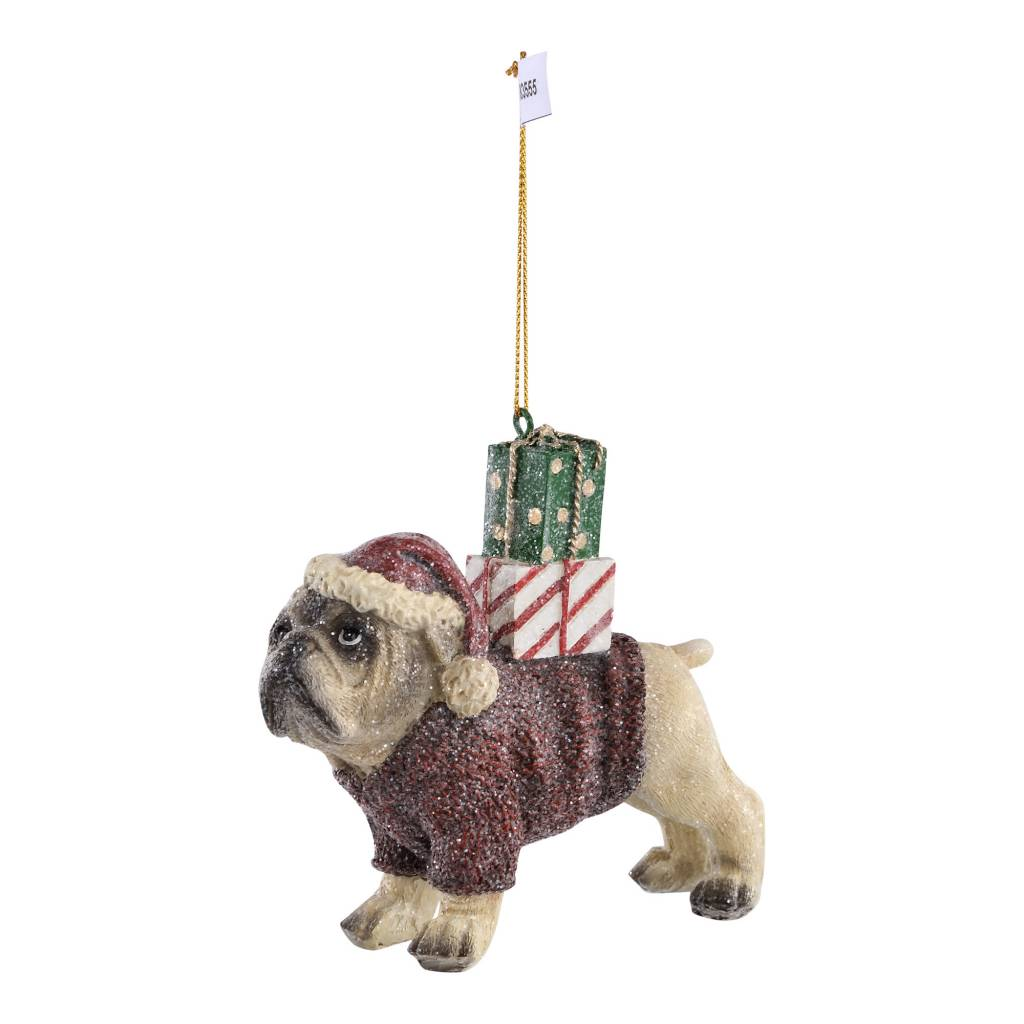 Christmas poly Brown bull dog with sweater