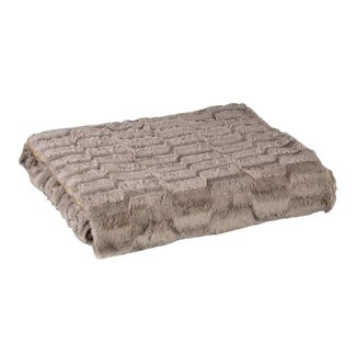 Denzy taupe faux fur blanket wave 220x240