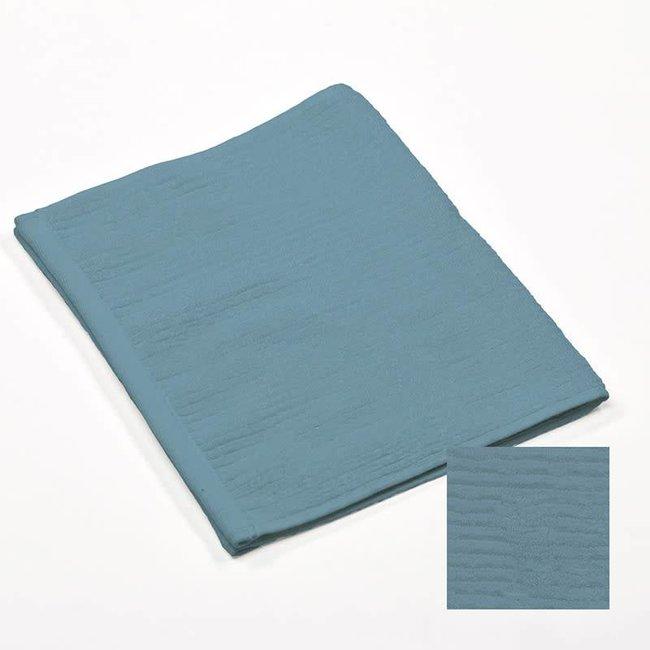 Badhanddoek ribbed blue 50x100