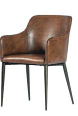 Armchair vintage pu brown metal legs