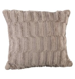 Denzy taupe faux fur cushion square
