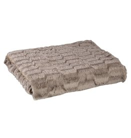 Denzy taupe faux fur blanket wave pattern s