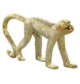 Monkey gold poly walking statue