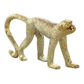Monkey gold poly walking statue