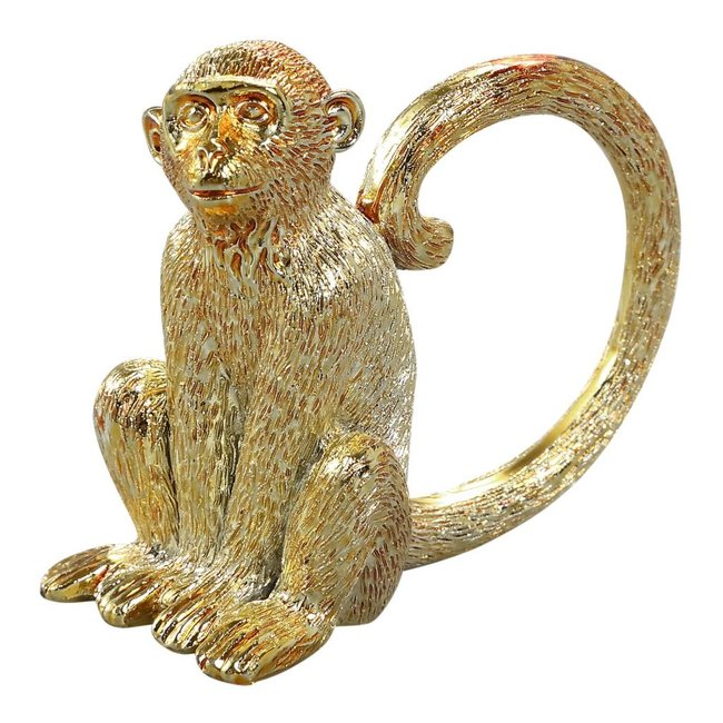 Monkey gold poly sitting statue A