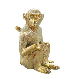 Monkey gold poly sitting monkey statue