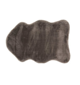 Rug animal skin shape fake fur dark grey 53x86