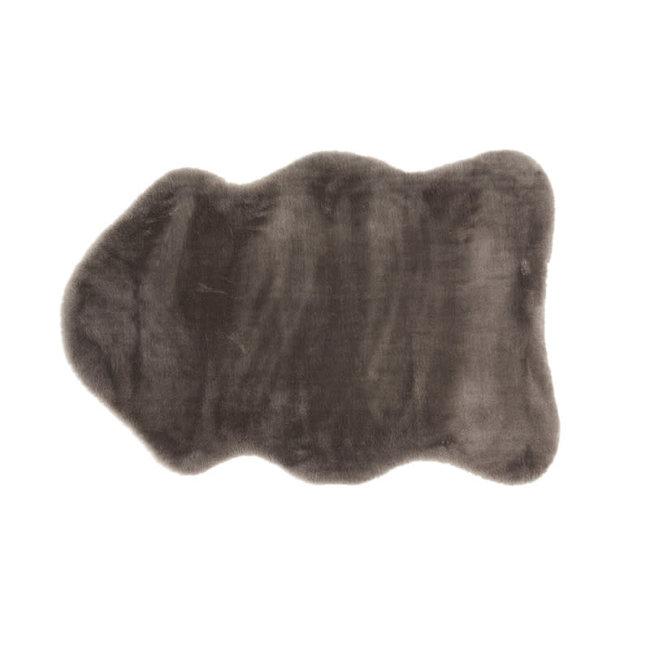 Rug animal skin shape fake fur dark grey 53x86