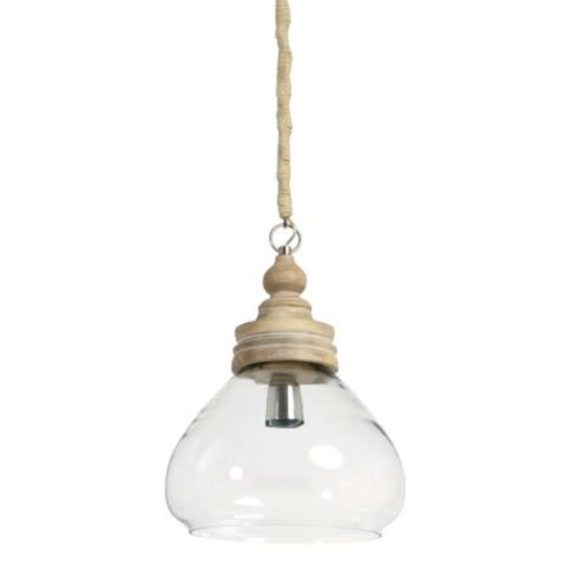 Hanglamp Sade dia 28x33 glas met houten kop
